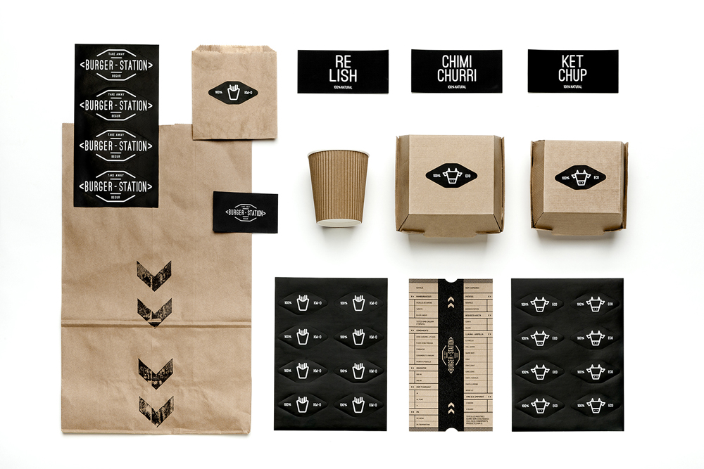 Diseño gráfico y packaging para Burger Station.