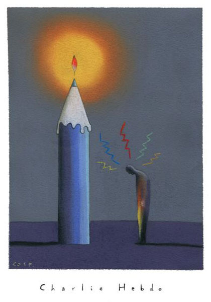 """PENCIL IS A CANDLE"" (Constantin Sunnerberg, ""Charlie Hebdo"")"